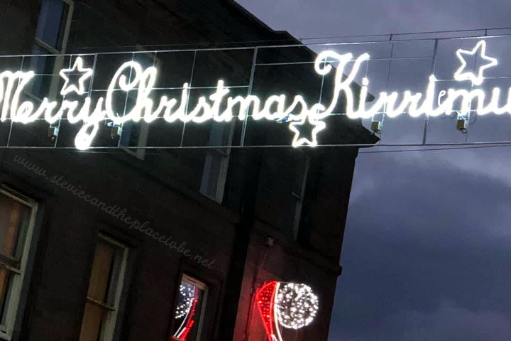 DD8 Music provided PA and lighting for Kirriemuir's Christmas Light switch-on. There was a small mistake with the sign.