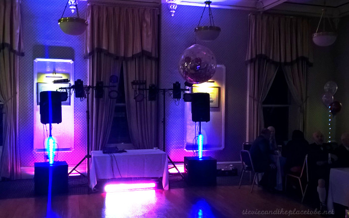 DJ Ross playing a wedding function disco in The Queen's Hotel in Dundee, Disco lighting & sound system supplied by Stevie C