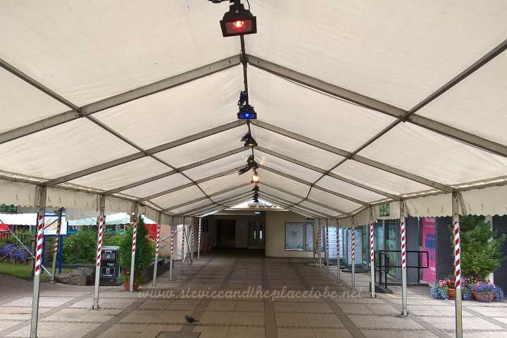 DUSA Dundee Grad Ball setup with AM Lighting Ltd - 60W multi-coloured LED floods setup in the marquee