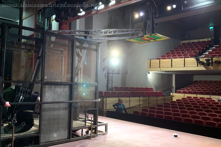 Webster Memorial Theatre Arbroath - backstage setting up the flying jib for Aladdin Panto