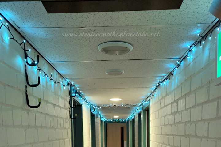 Webster Memorial Theatre Arbroath - setting up festive fairy lights in the green room