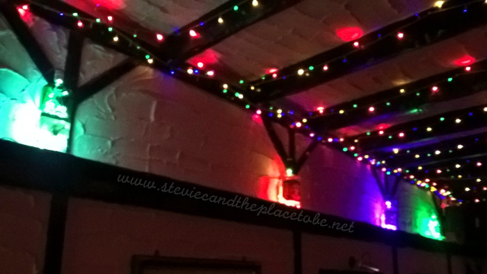 LED fairy lights in liquor bottles in The Salty Dog in Dundee. Custom prototype booze bottle lights by Stevie C.
