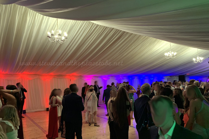 AML provided LED up-lighters, stage, LED PARcans and star cloths for the main stage of DUSA Grad Ball 2019