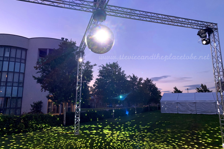 AML provided a gigantic mirror ball, truss and spotlights for DUSA Grad Ball 2019