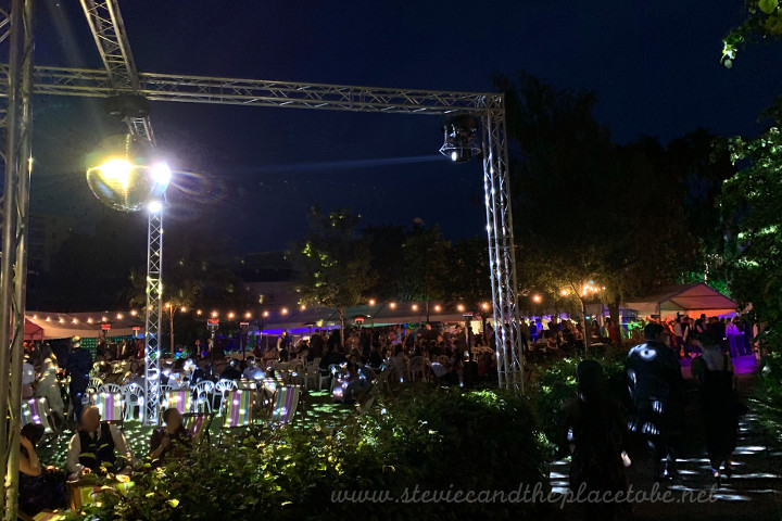 DUSA Grad Ball 2019 showing the mirror ball at night; with the spotlights and festoon harnesses in the background