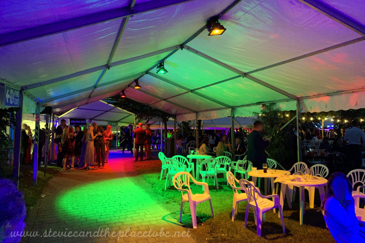 AML providing LED flood lighting, mood lighting and all site power for the DUSA Grad Ball 2019 at Dundee Uni. LED lights installed into marquees, greenery, bushes and gardens.