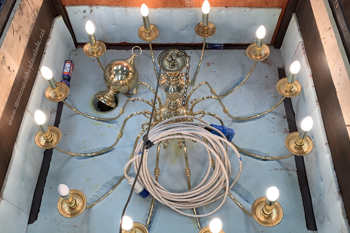 PAT Testing and lighting service for AML Event Hire in Dundee. Chandelier passed the test.