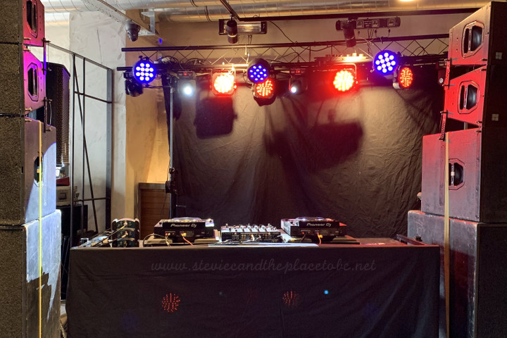 Stevie C and AudioWave.co.uk providing a complete rave sound and light system - comprising D&B PA system, Logic monitors, Pioneer DJM mixer, CDJ Nexus, intelligent lighting and strobe lights with DMX control.