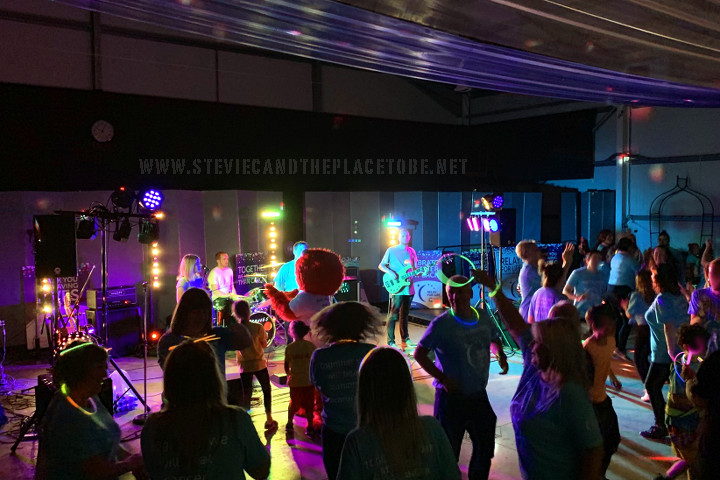 Stevie C helping DD8 Music with sound, lighting and DJing for Cancer Research UK (CRUK) Relay for Life 2019 in The Mart Forfar (Strathmore Hall). The band is Sonnet 65 from Kirriemuir.