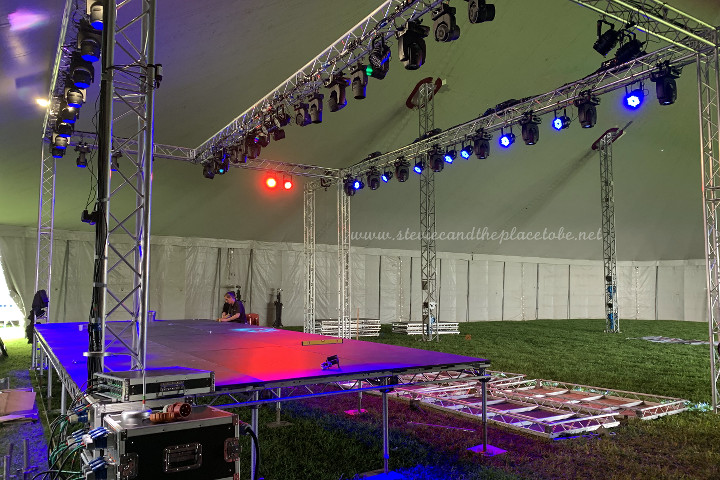 AML Event Hire in Dundee provided all power distro, generators, site lighting, emergency lights, cabling, stage & band lighting, strobes, PAR cans, moving heads and DMX control for BonFest hosted by DD8 Music in Kirriemuir. PA system supplied by audiowave.
