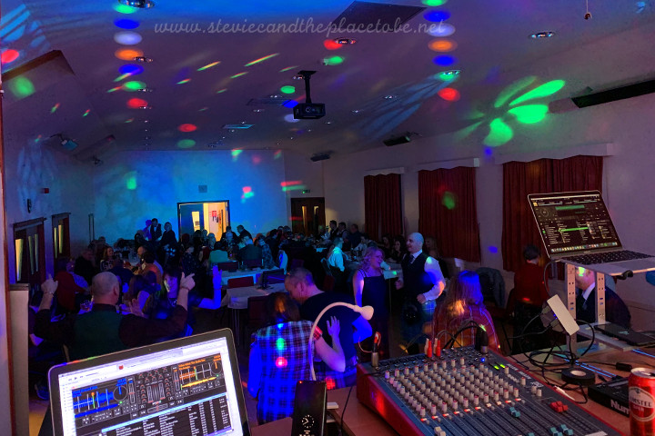 Stevie C helping DD8 Music provide DJ services, sound and lighting hire for a Cancer Research fundraiser disco in Northmuir Hall, Kirriemuir.