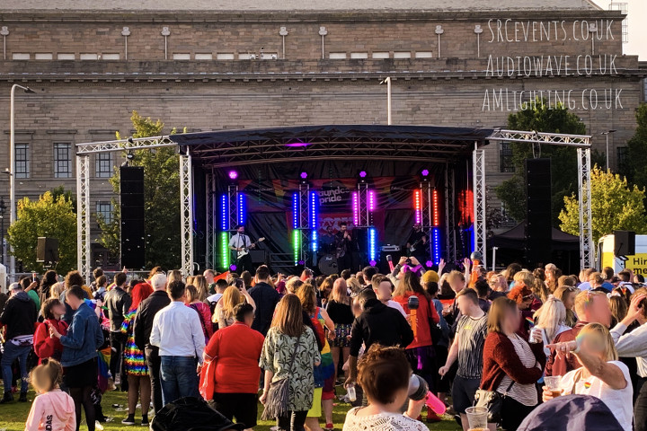 Dundee Pride 2019 - PA supplied by audiowave.co.uk, lighting supplied by AML Event Hire (AMLighting.co.uk). Crew services from Stevie C :)