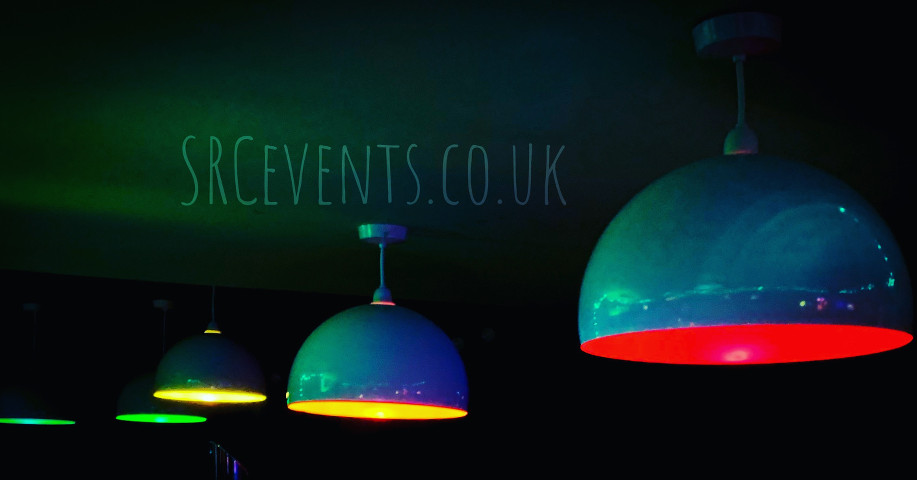 Stevie C's custom hand-painted LED LGBT rainbow bulbs - perfect for Dundee Gay Pride 2019, as used by Klozet Bar