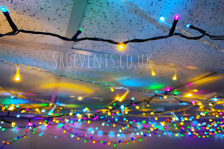 LED fairy lights for christmas in The Webster Memorial Theatre green room in Arbroath