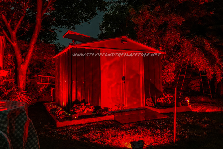 #WeMakeEvents - #LightItShed: lighting up a theatre colleague's shed in red to show solidarity with theatre and live events workers who have paid into the economy but been ignored by the UK government and media