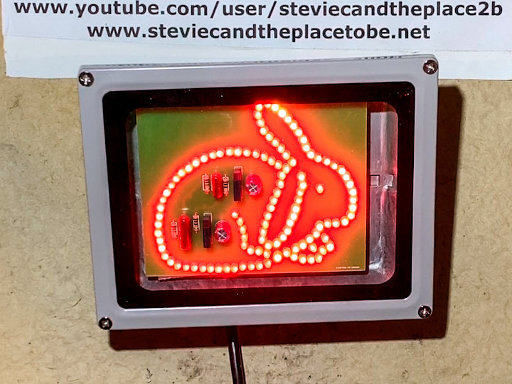 A custom LED floodlight PCB assembled into a waterproof enclosure - featuring Jojoba The Bunny