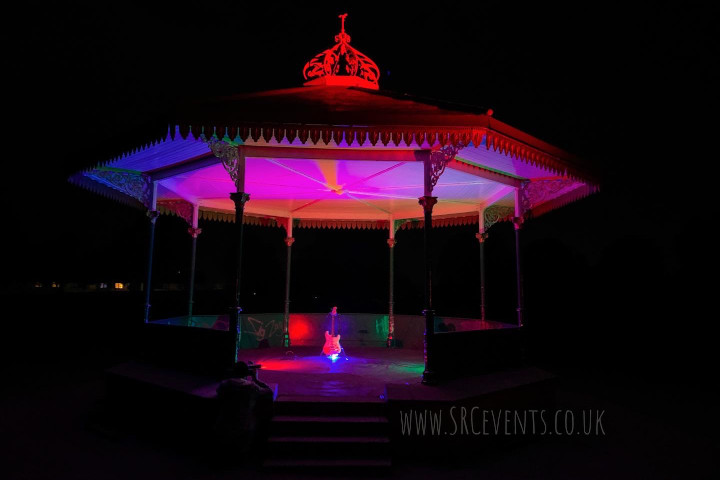 Lighting up the Reid Park Bandstand in Forfar with a solar-charged battery and inverter to show support for #WeMakeEvents - UK Live Events workers have supported the UK economy but have been ignored by the goverment