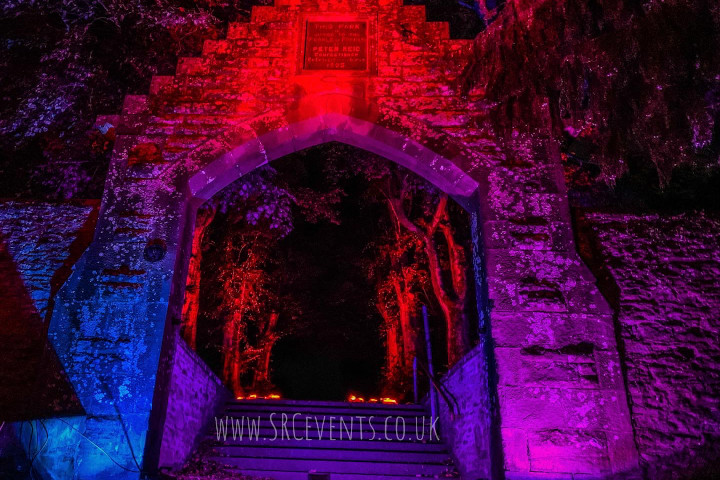 Lighting up the entrance arch/path of The Reid Park (Forfar) to show support for #WeMakeEvents - UK Live Events workers have supported the economy to the tune of £100 Billion - but now we need support to survive lockdown.