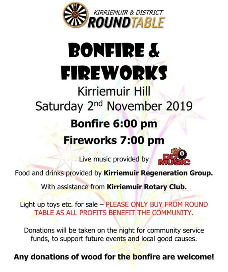 DD8 Music will be providing live music at Kirriemuir Round Table's Bonfire & Fireworks night up Kirrie Hill (Camera Obscura)