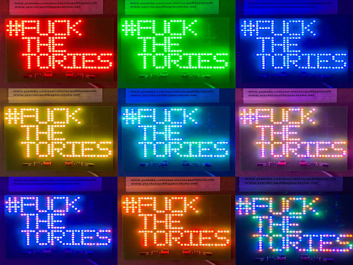Fuck the tories - a rude custom PCB which you can solder to show your voting intentions. Fuck corruption, sleaze and misappropriation of public money.