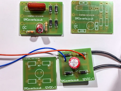 Mains capacitive dropper and low voltage rectifier power supply PCBs